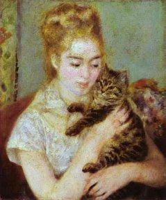 Renoir, Woman With Cat 1875